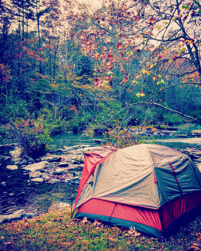 camping near a river to keep cool