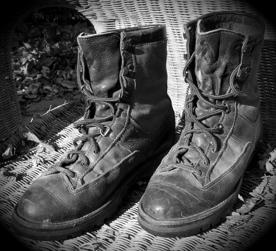 old hunting boots